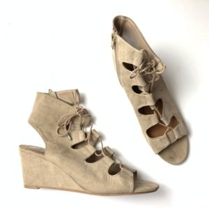 Dolce Vita Beige Open Toe Gladiator Wedge Lace Up